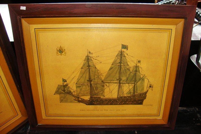 H.M.S SOVEREIGN OF THE SEAS 1635-1696 Framed Art