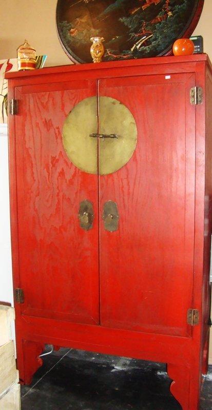 Oriental Style Armoire Red Wood, Vintage, Movie Prop