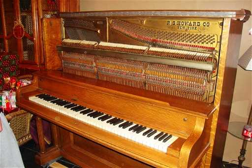 R S Howard Upright Piano Antique Restored Over 30 Yrs