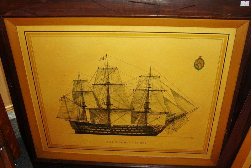 H.M.S VICTORY (SHIP) 1765-1895, FRAMED ART