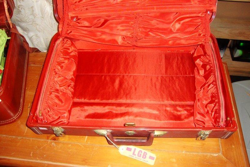 Vintage Red Suitcase, Luggage Bag, Travel Antique