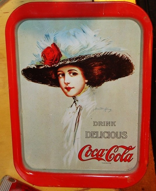 Coke a Cola Tin Serving Tray, Vintage Rare Woman in Hat