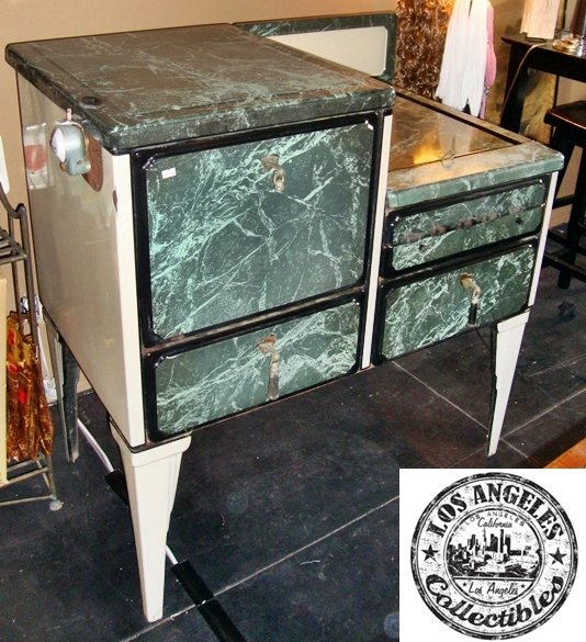 Antique 1920's Wedgewood Stove Oven, Gas. Marble Green
