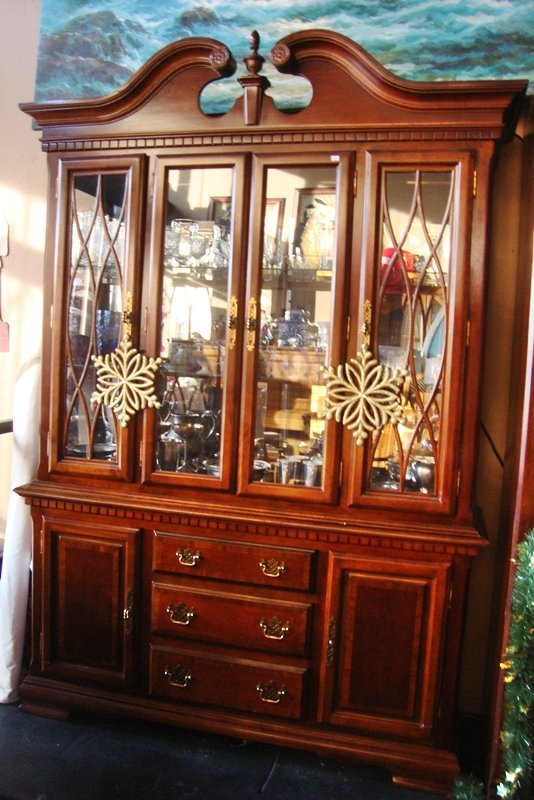China Cabinet, Mirrored with Glass Shelves Vintage