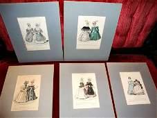 Lot of 5, FASHION PLATES, Prints Antique