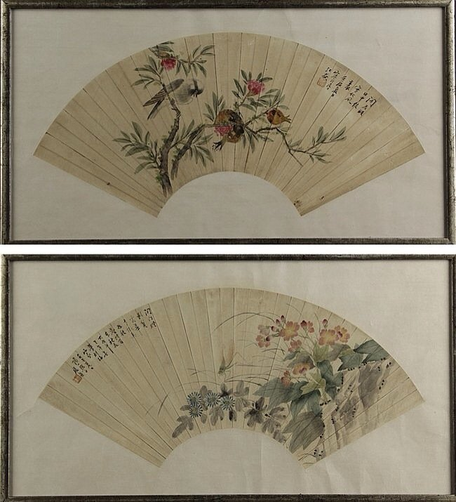 TWO FRAMED FAN LEAF PAINTINGS,BY JIANG HANTING