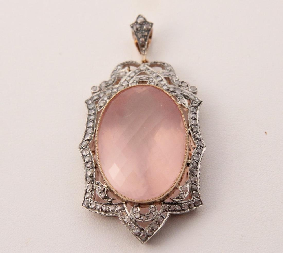 18K GOLD DIAMOND AND ROSE QUARTZ PENDANT