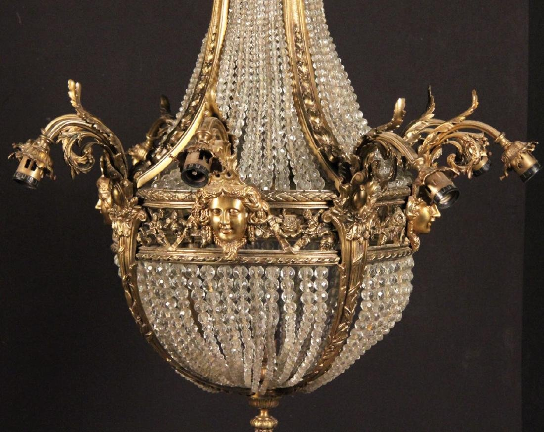 FRENCH 8 LIGHT BRONZE AND CRYSTAL CHANDELIER - 2