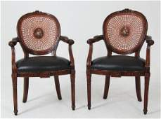 PAIR OF LOUIS XVI STYLE MAHOGANY CANE BACK CHAIRS