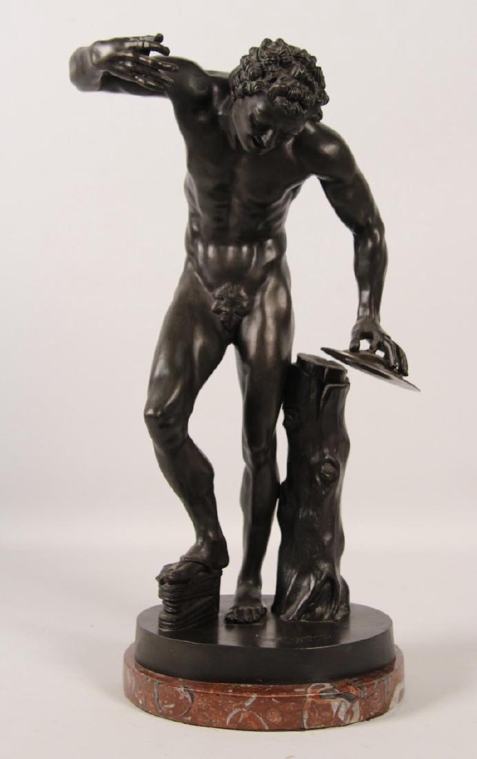 A. GIBBER, 19TH C. BRONZE OF PARTIALLY NUDE MAN
