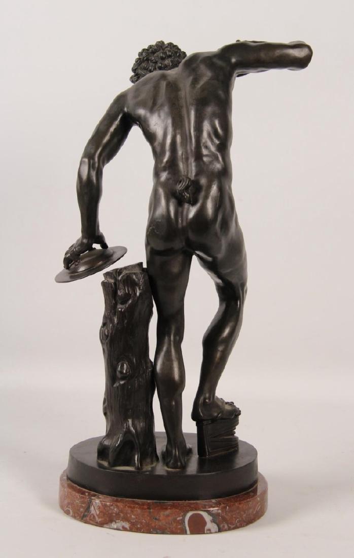 A. GIBBER, 19TH C. BRONZE OF PARTIALLY NUDE MAN - 3