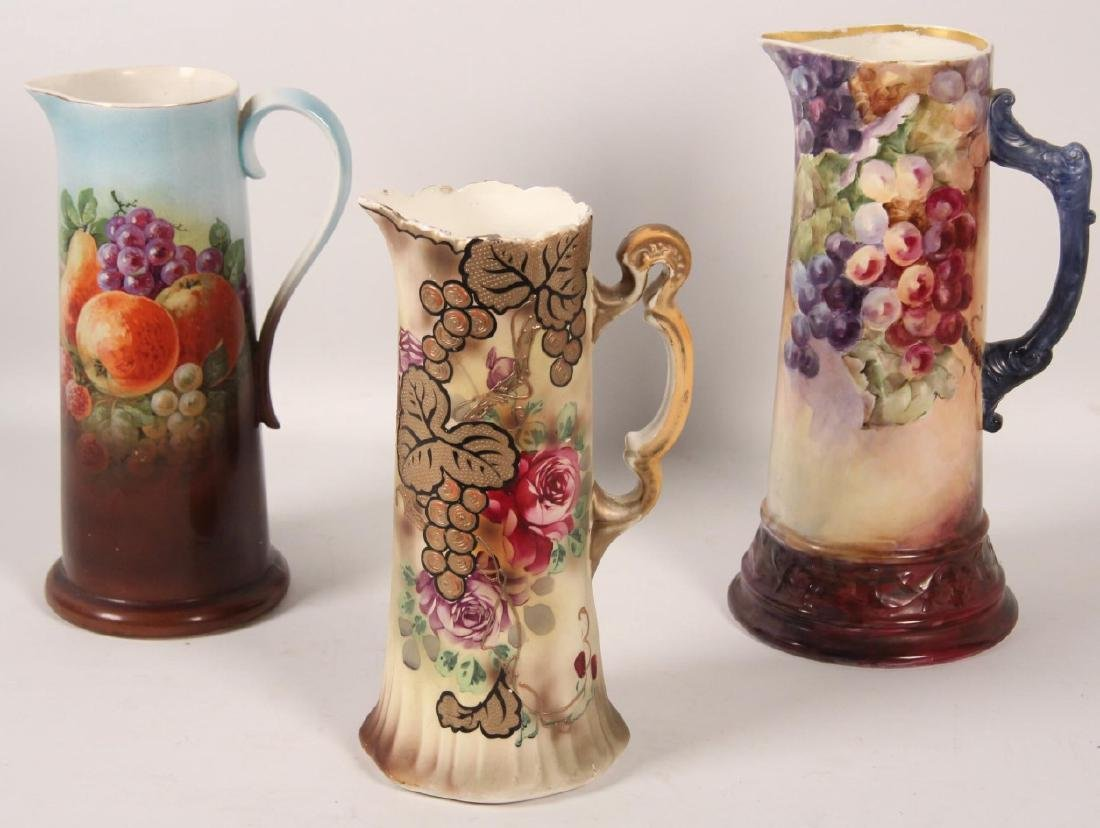 3 LARGE VICTORIAN CHINA HAND PAINTED TANKARDS