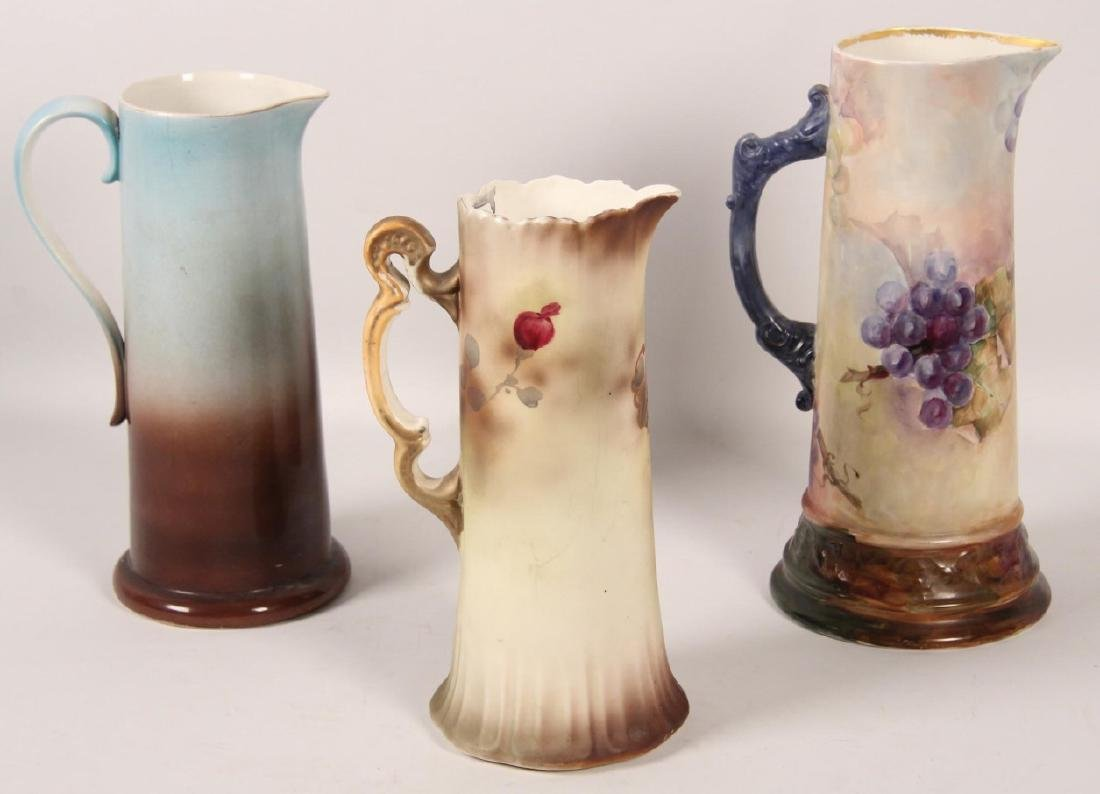 3 LARGE VICTORIAN CHINA HAND PAINTED TANKARDS - 2