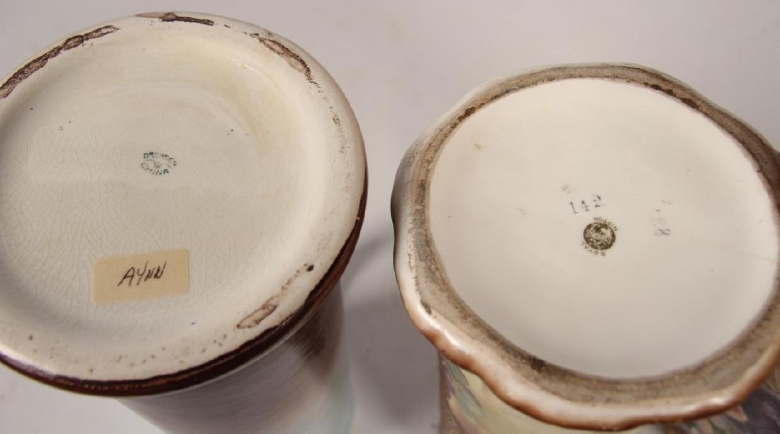 3 LARGE VICTORIAN CHINA HAND PAINTED TANKARDS - 3