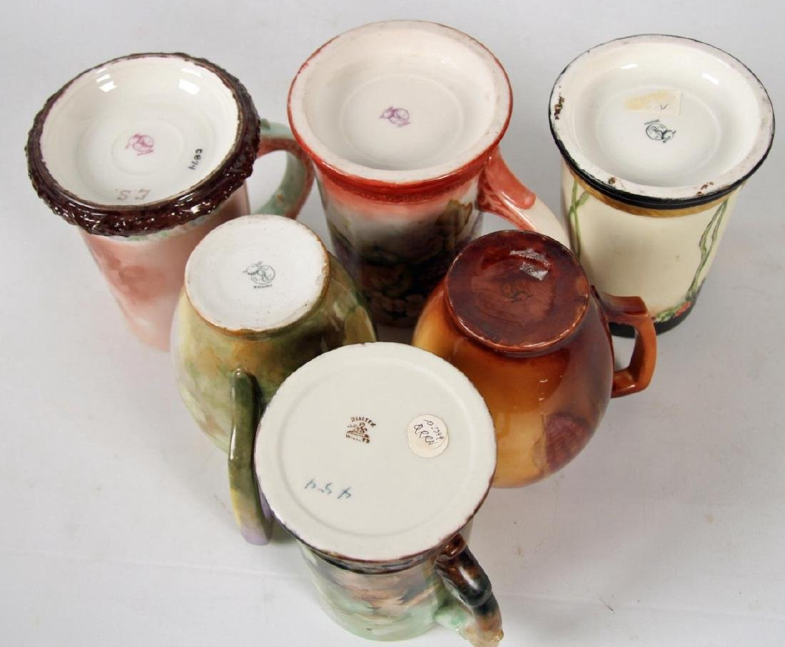 GROUP OF 6 BELLEEK HAND PAINTED HANDLED MUGS - 3
