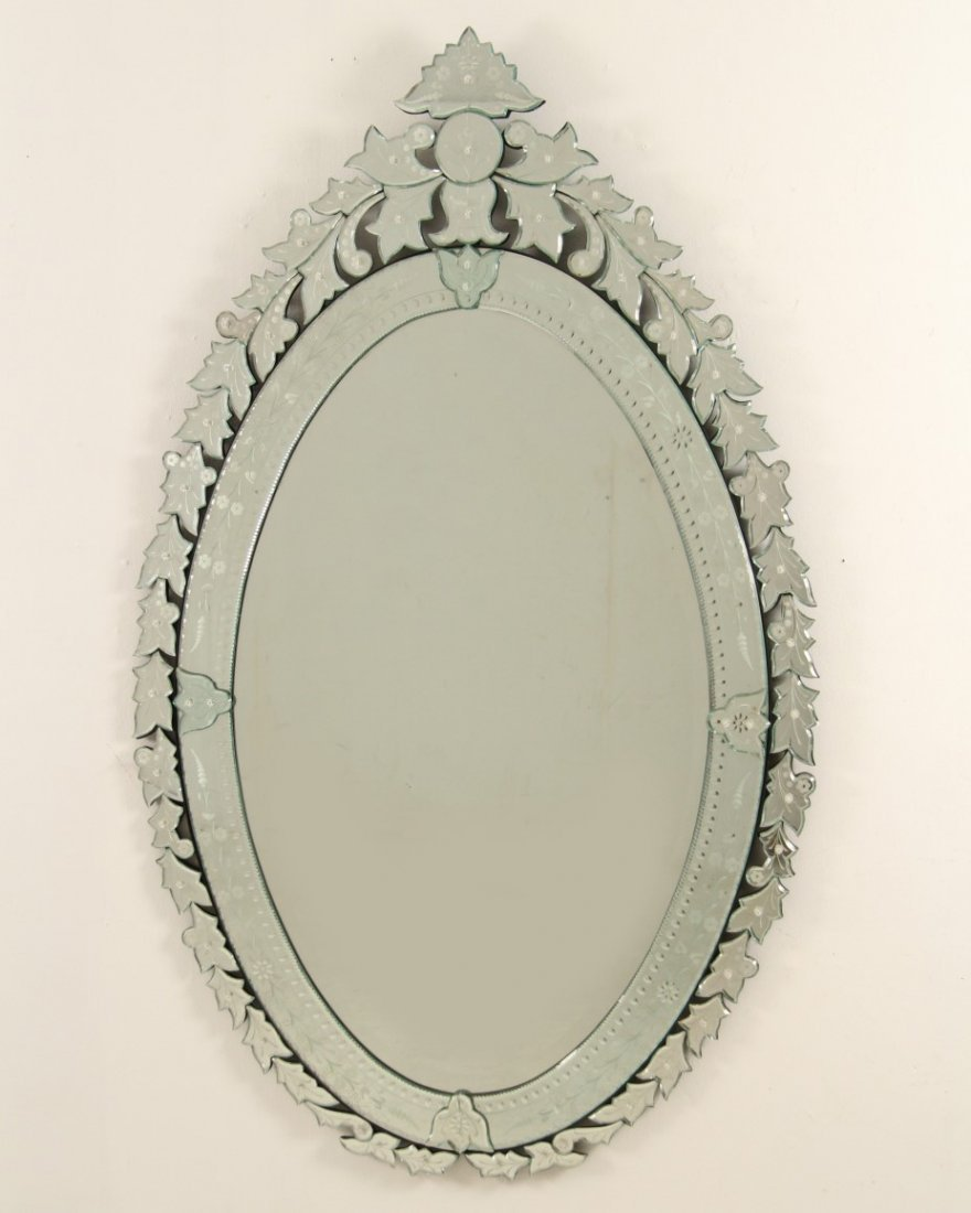 LARGE DECORATIVE VENETIAN GLASS OVAL MIRROR