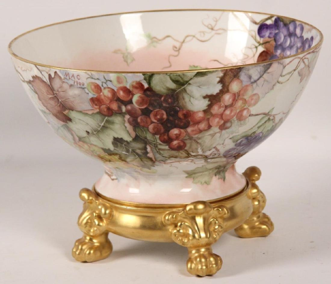 SIGNED FRENCH LIMOGES BOWL AND UNDER TRAY - 2