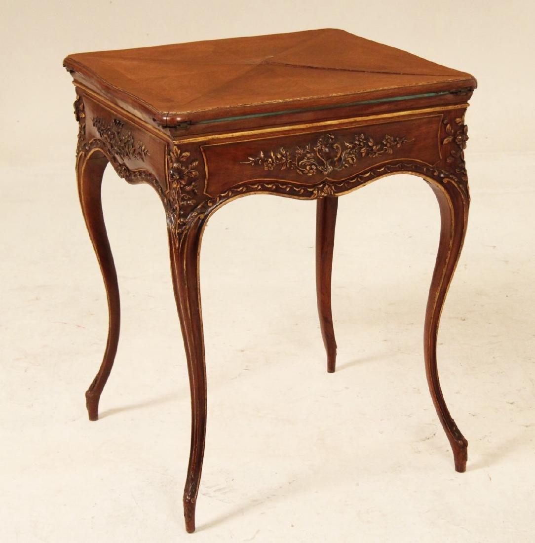 PROVINCIAL CARVED WALNUT ENVELOPE TABLE