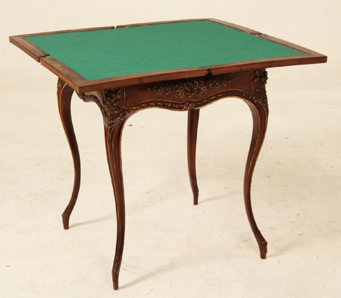 PROVINCIAL CARVED WALNUT ENVELOPE TABLE - 2