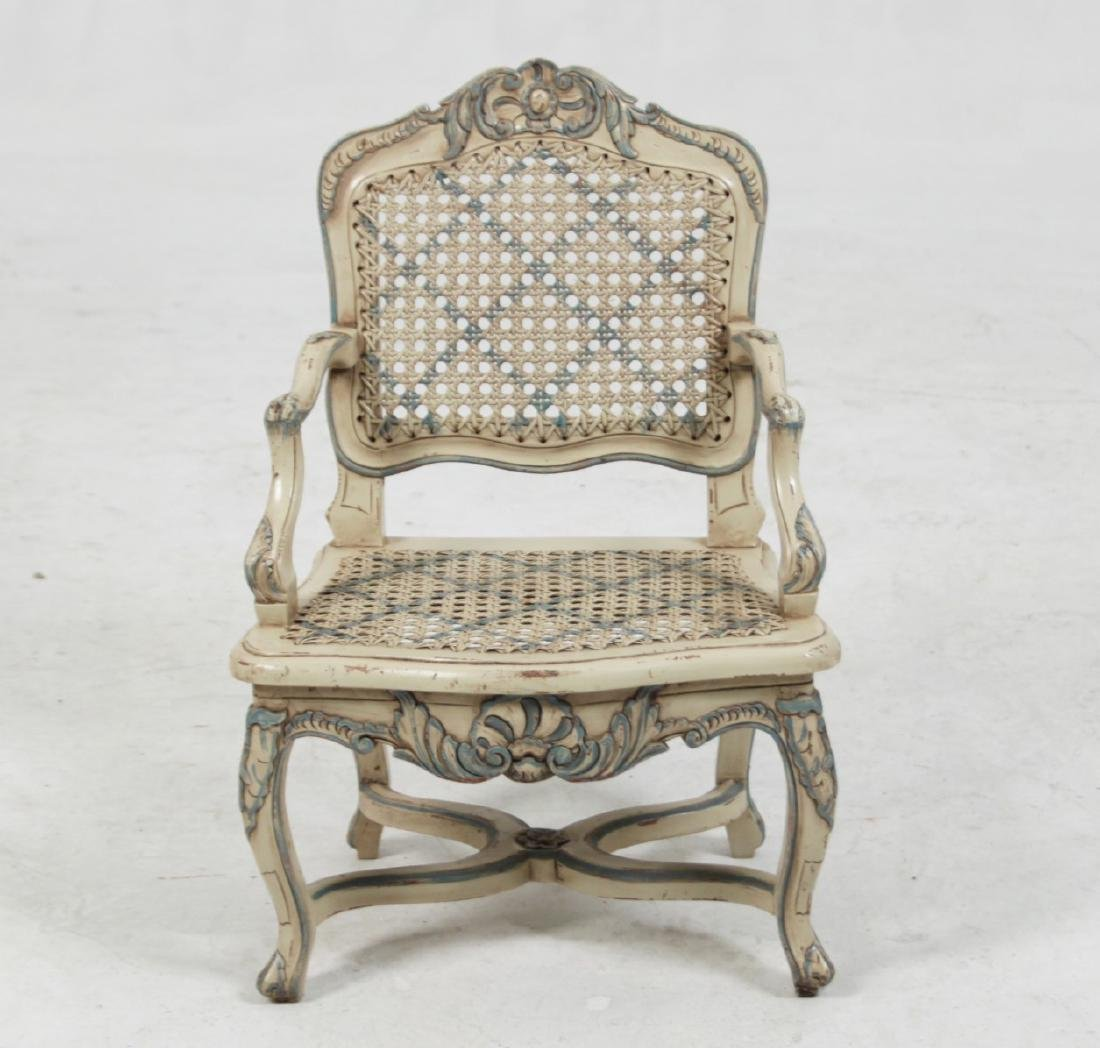 LOUIS XV STYLE PAINTED MINIATURE FAUTEUIL - 2