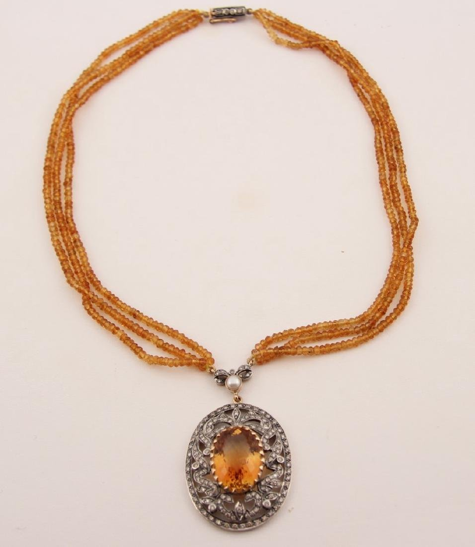 18K GOLD DIAMOND AND CITRINE NECKLACE