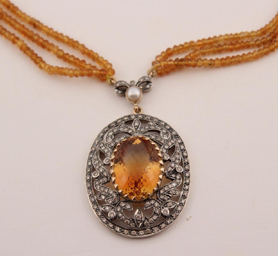 18K GOLD DIAMOND AND CITRINE NECKLACE - 2