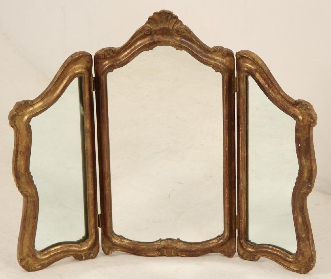 ITALIAN TRI-FOLD CARVED GILT WOOD DRESSING MIRROR
