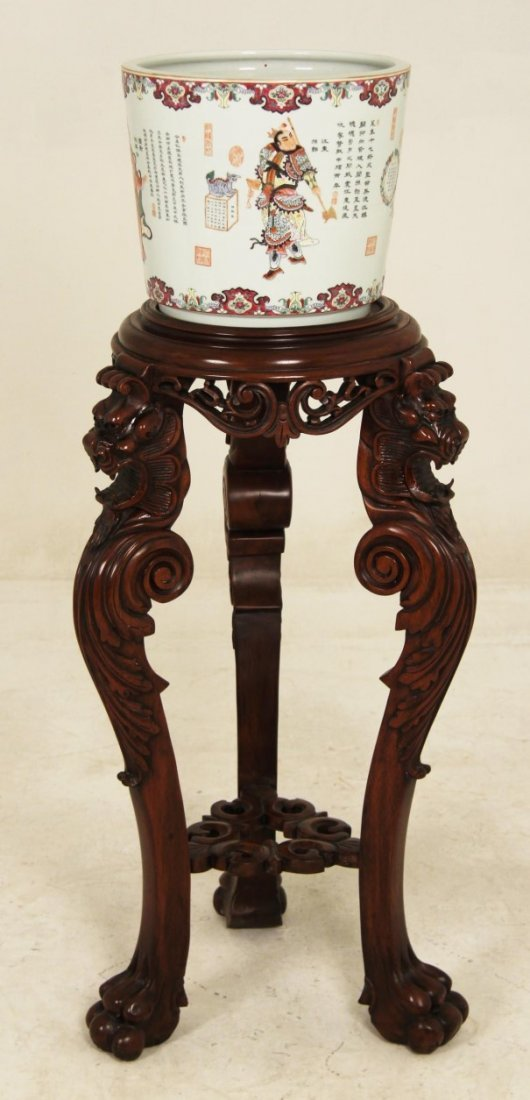2 PIECE LOT, MAHOGANY TORCHIERE STAND AND CHINESE BOWL