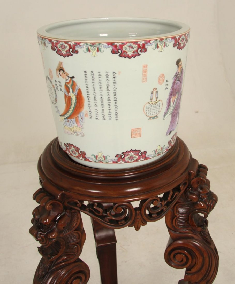 2 PIECE LOT, MAHOGANY TORCHIERE STAND AND CHINESE BOWL - 2