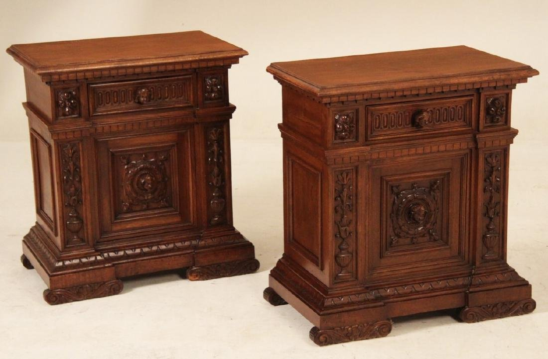 PAIR OF ITALIAN CARVED WALNUT BEDSIDE COMMODES