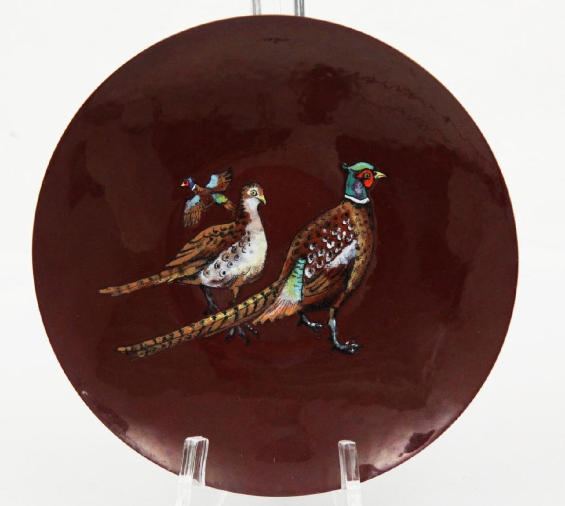 R. COMBS, PAINTING OF EXOTIC BIRDS ON ENAMEL