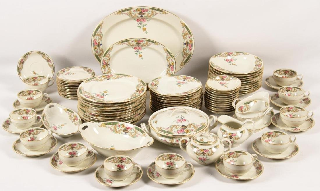 92 PIECE GOLD RIMMED CHINA DINNER SERVICE