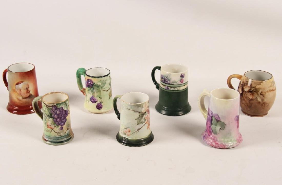 GROUP OF 7 FRENCH HAND PAINTED HANDLED MUGS