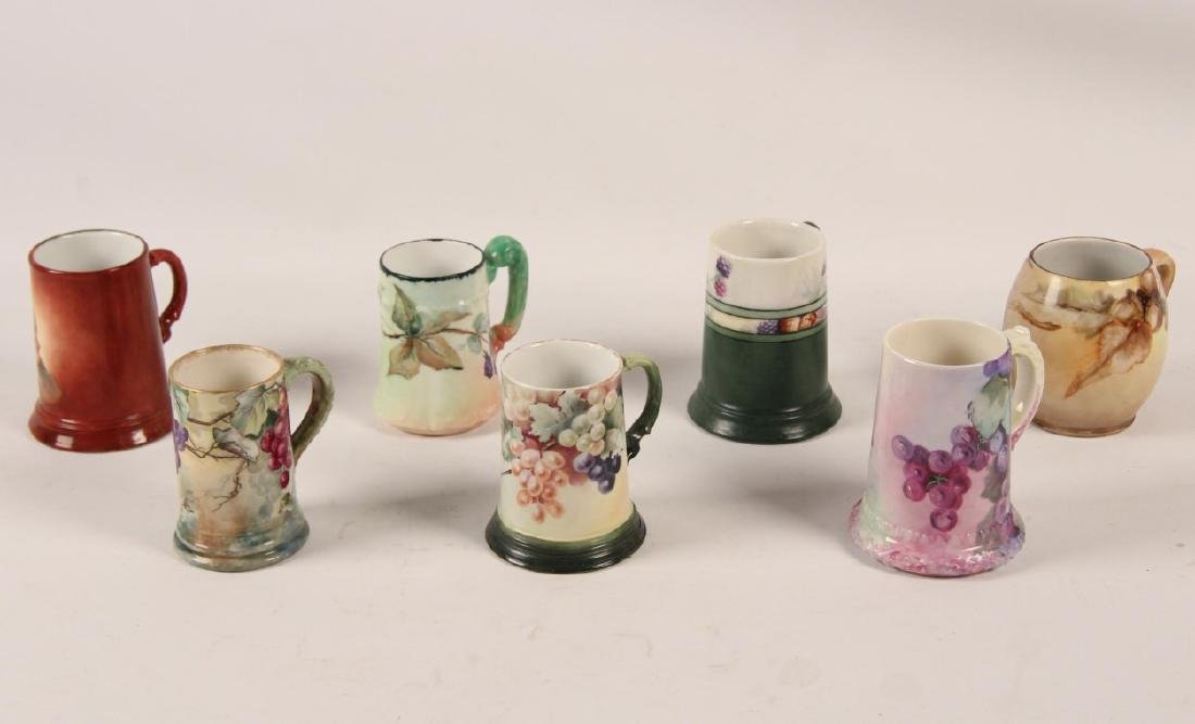 GROUP OF 7 FRENCH HAND PAINTED HANDLED MUGS - 2