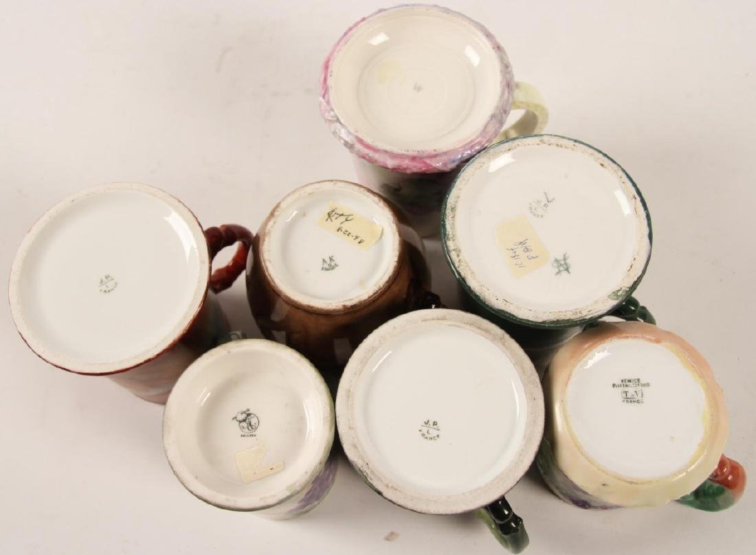 GROUP OF 7 FRENCH HAND PAINTED HANDLED MUGS - 3