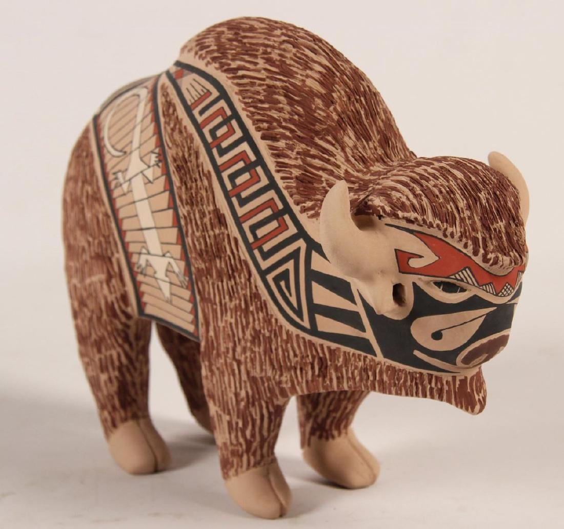 SIGNED MATA ORTIZ EARTHENWARE BUFFALO