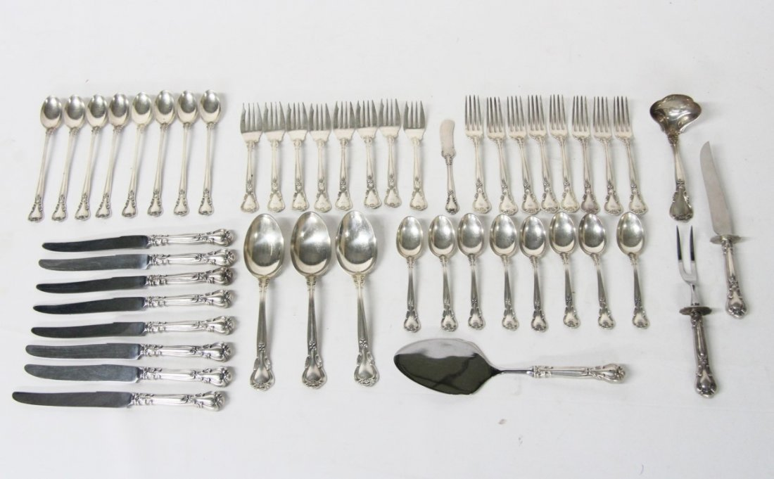 """48 PIECES OF """"CHANTILLY"""" BY GORHAM STERLING FLATWARE"""