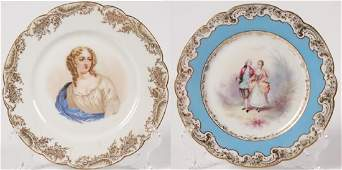 GROUP OF 2 SIGNED FRENCH SEVRES PORCELAIN PLATES
