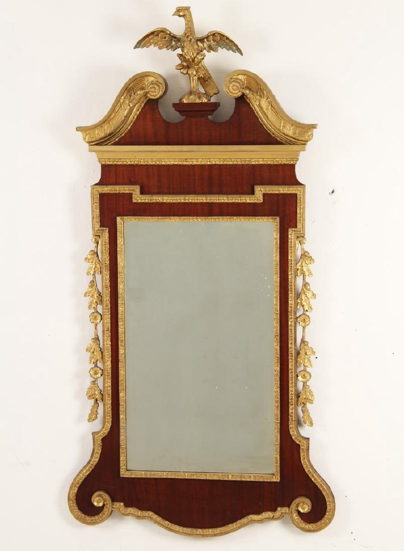 GEORGIAN MAHOGANY AND CARVED GILT WOOD MIRROR