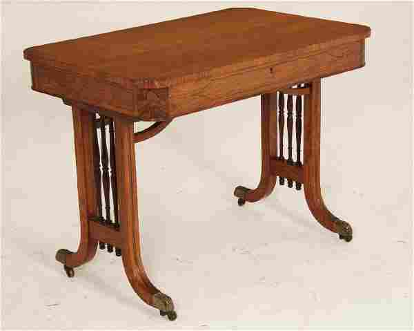 CUSTOM ENGLISH REGENCY STYLE BRASS INLAID WRITING TABLE