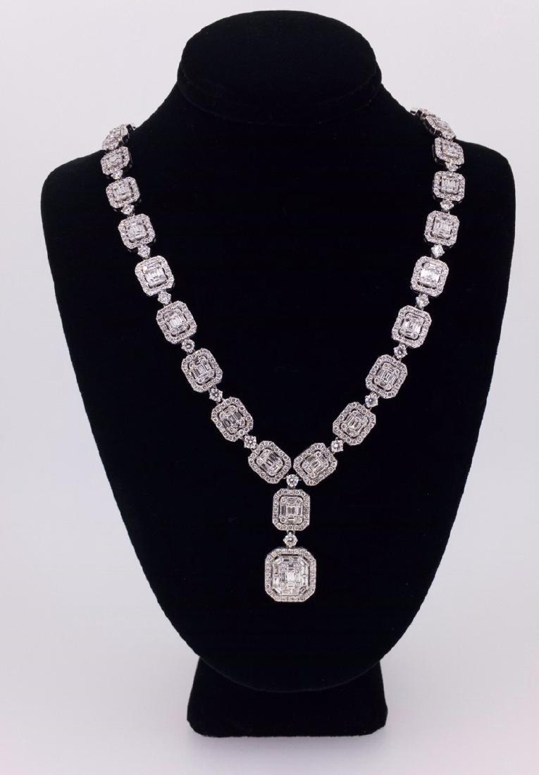 18K WHITE GOLD 10.15 CTTW DIAMOND NECKLACE