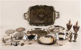 27 TROY OZS., MISC. LOT OF STERLING AND SILVER PLATE