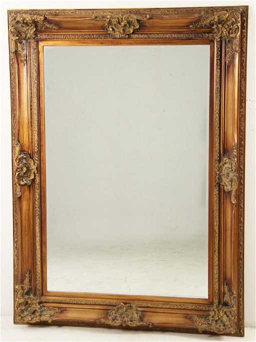 Large Louis Xv Style Beveled Glass Mirror In Gold Frame