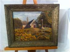 HOMELIN OIL ON BOARD  PAINTING CHURCH IN BRITTANY
