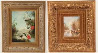 2 DECORATIVE FRAMED 20TH C OIL PAINTINGS