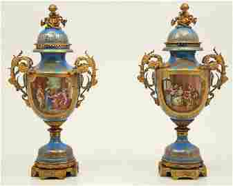 "IMPORTANT PR. OF 54"" SEVRES PALACE VASES SIGNED LEBER"