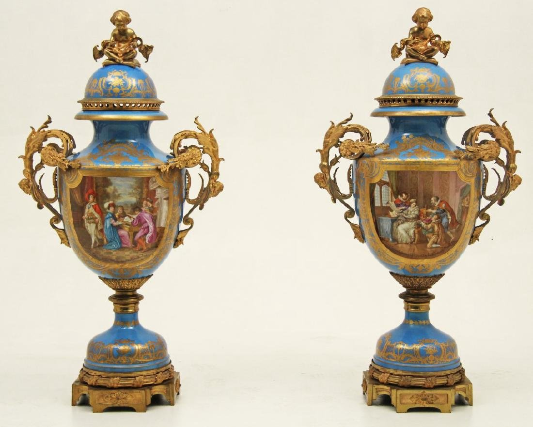 """IMPORTANT PR. OF 54"""" SEVRES PALACE VASES SIGNED LEBER"""