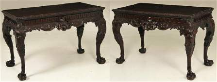 PAIR OF 19TH C. IRISH CHIPPENDALE CONSOLE TABLES