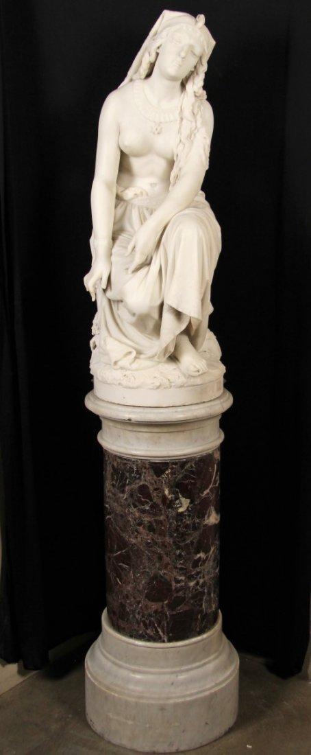 LOMBARDI F., ITALIAN CARRARA MARBLE OF SLAVE GIRL
