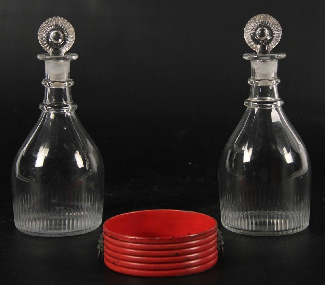 PR. OF EARLY BLOWN GLASS DECANTERS & PAPIER MACHE